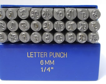 Metal Stamping Set-Metal Letters in Uppercase Monogram Font in 6mm-LARGE - Steel Stamps by Metal Supply Chick