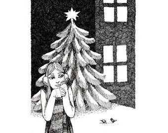 Christmas Tree and Star  - December girl original art ink drawing