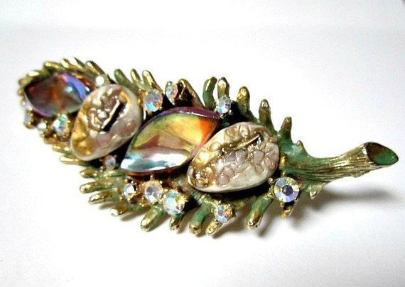 "HAR signed Vintage 3 1/2"" Large Enameled Green Dragon Tooth AB Rhinestone Brooch Pin"