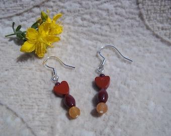 Mookaite Jasper Earrings, Serendipity, Healing Stones Earrings, Garnet, Orange/Peach Aventurine, Natural Gemstone Synergy, Sterling Silver