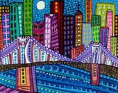 Cityscape Print Brooklyn Bridge New York City Art Poster Print of painting by Heather Galler