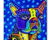 65% Off- Boston Terrier Art Tile Ceramic Coaster Dog Folk Art Print of painting by Heather Galler