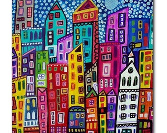 New york City art Tile Ceramic Coaster Mexican Folk Art Print of painting by Heather Galler