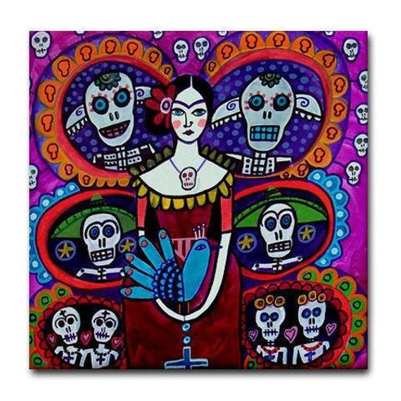 Mexican Folk Art Tree of Life Art Tile  Day of the Dead Art Ceramic Coaster Tile  Frida Kahlo Sugar SkullRed Black Turquoise White (HG355)