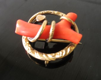 Victorian Coral Pendent/ Gold Filled Victorian Pin/ Brooch/ Coral Pin Pendant