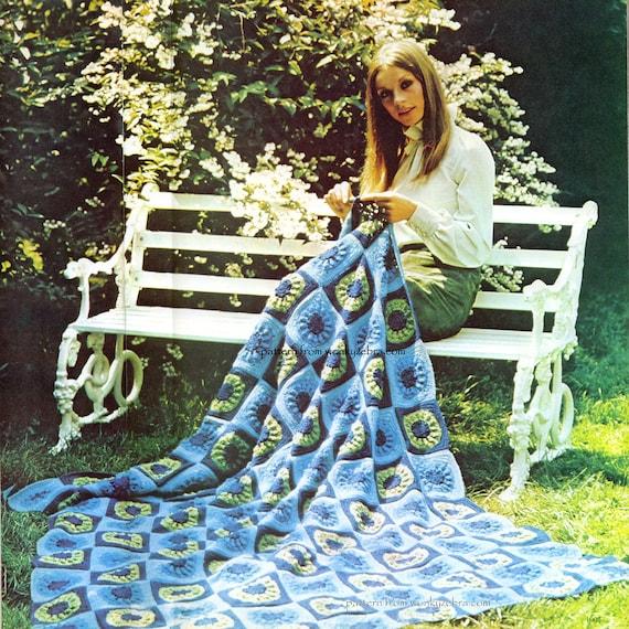Vintage Crochet Pattern 234 PDF Afghan Granny Square Blanket from WonkyZebra