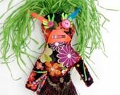 Juju Wishing Doll with Green Hair One of a Kind Handmade Rag Doll