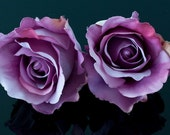Set of 2 Purple Roses Hair Flower Bobby Pins /Combs / Clips