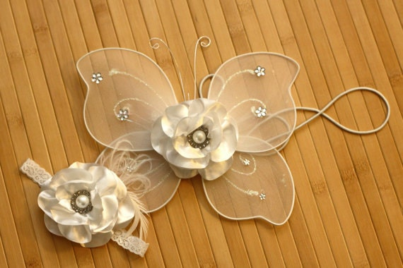 Baby Newborn Girl Photo Prop: White Satin Shabby Chic Flower Headband and Wings Set