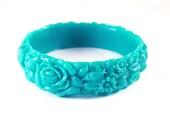 Aqua Resin Floral Bracelet