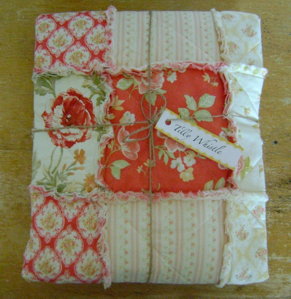 Cotton Rag Quilt for Baby Girl Pink, Coral, and Buttercream - Ready to Ship