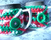 Pair of 2 Red Green and White Christmas Mug/Cup Cozies with Large Green Buttons