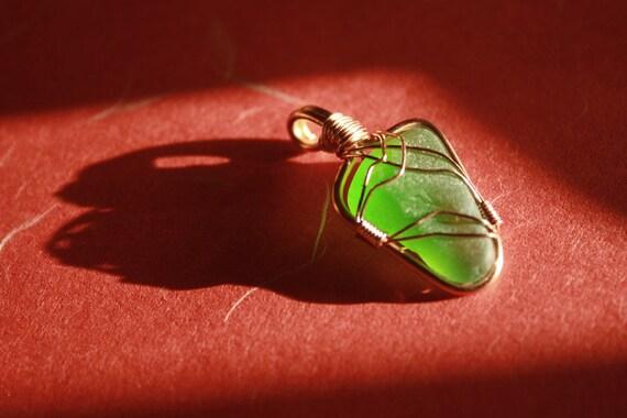 Yummy Bright Green Sea Glass - Copper Wire-Wrapped Pendant