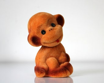 Vintage Russian flocking toy, cute baby monkey, made in USSR