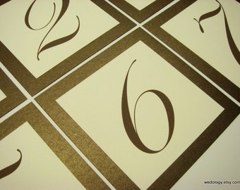 Wedding Table Numbers Shimmery Bronze Wedding Reception Decor