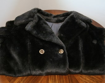 Vintage 1960s Brown Faux Fur Double Breasted Vintage Coat