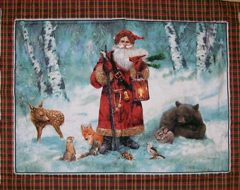 A Gorgeous Woodland Santa Christmas Holiday Fabric Panel Free US Shipping