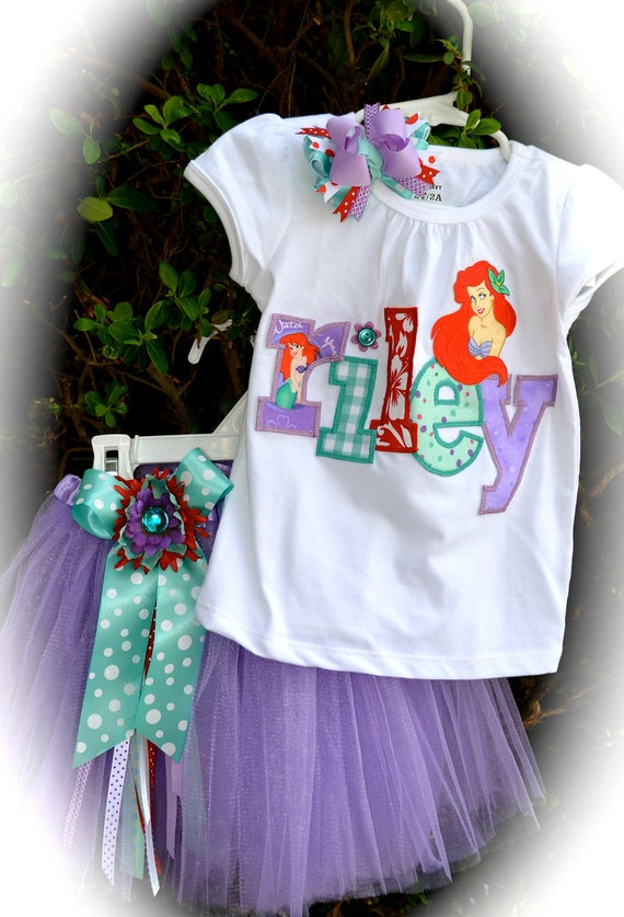 Custom Boutique Girls Disney Vacation Birthday ARIEL Little Mermaid APPLIQUE Princess Personalized Shirt child's name