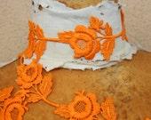 Very cute  orange    color flower    venice  trim   2  yard listing