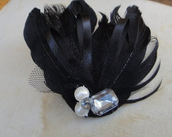 Feather applique black color with back clip