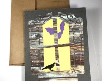 A Window on Halloween - a OOAK Halloween Card - window, bat, raven, haunted house, one of a kind, Samhain
