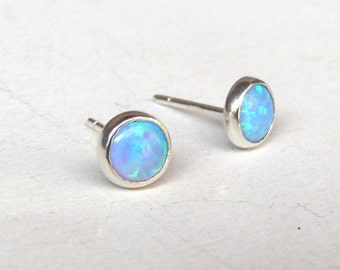 Blue opal, Opal Studs, Opal earrings ,Tiny silver studs ,Fine Silver Earrings 5mm, gift for her, ticher gift, Mom gift, birthday gift