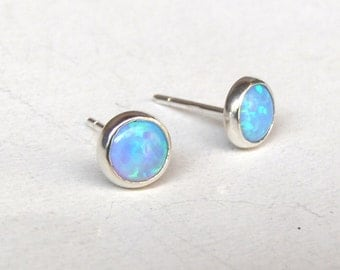 Opal Stud, Opal earrings, Stud Earrings, 925 Silver Earrings 6mm, Gift for her, Clip On Earrings,Cluster Earrings, Blue opal Earrings