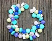 TURQUOISE bracelet stone purple blue lime silver white boho teal birthday for her beaded quartz stone jade pink green dark shell light charm