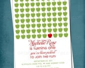 Apple of My Eye Baby / Bridal Shower.  Birthday Invitation.  Any text and colors  by Tipsy Graphics