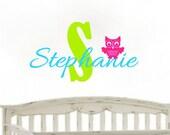 Custom Owl Monogram Name Nursery Childrens Kids and Teens Vinyl Decal sticker
