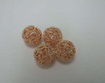 2 pcs rose gold metal with clear cubic zirconia filigree ball in 10mm