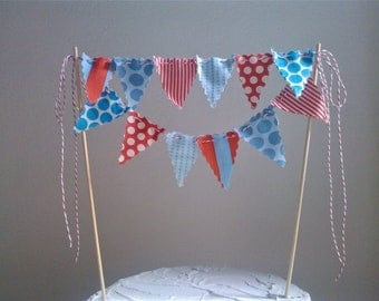 Cake Bunting Old Fashion Circus - Smash Cake Topper Red and Turquoise
