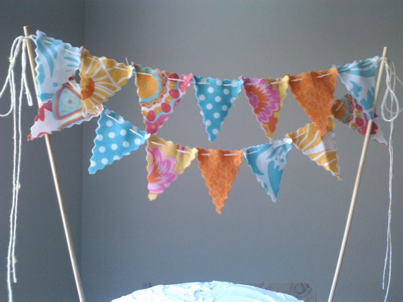 Cake topper Bunting Flags Aqua, Tangerine Orange, Sunshine Yellow and hints of hot pink