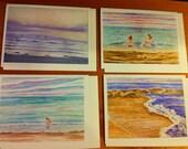 Watercolor Notecard set of 8, seascape print of my originals