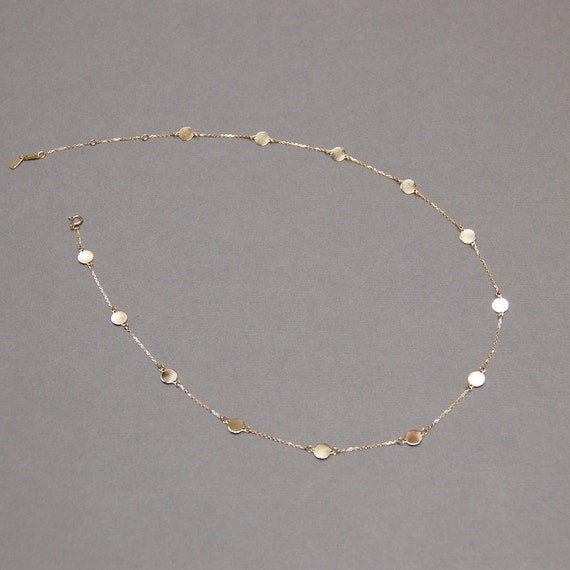 """Solid 10K Gold, """"HOLE FREE"""" Disc Necklace with Fifteen 6mm Discs"""