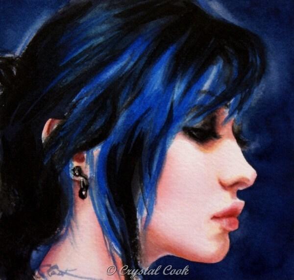 Watercolor Portrait Painting Beautiful Woman Profile Original