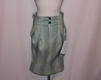 Fantastic Burlesque, Pscho Billy pin up green and white stripe deadstock skirt Free Shipping