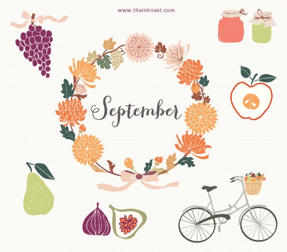 CLIP ART - September - for commercial and personal use