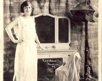 ART DECO STYLIZED Flapper Woman Wearing Roaring 20s Night Gown Professional Studio 8 x 10 Photo Circa 1920s Kiami Bros Brooklyn New York