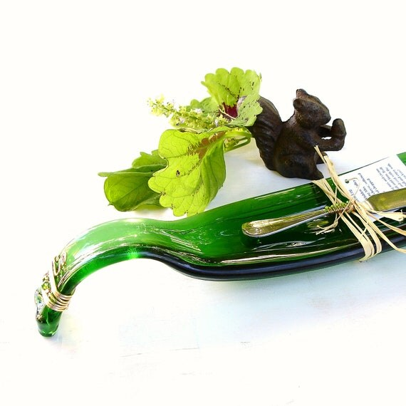 Wine Bottle Dish, Melted Glass Bottles, Curved Green Bottle
