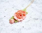 Coral Green FlowerNecklace  - Pastel Shabby Chic Necklace - a delicate, yet a romantic statement necklace - Europe
