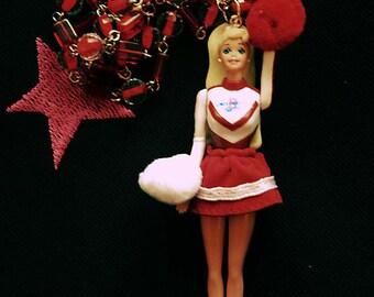 Cheerleader Barbie doll necklace