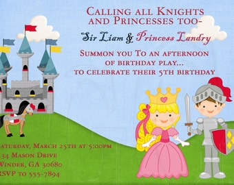 Knight and Princess Birthday Invitation-Digital File