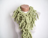 Green  knit scarf  soft velvet  Winter accessories  Fall Fashion  Holiday Accessories