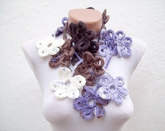 Flower Crochet Lariat Scarf, Crochet Long Necklace, Crochet Accessories, Women jewelry, Colorful, Variegated, Winter Fashion, Lilac brown