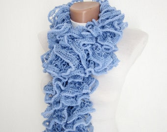Blue Knit Scarf, Knitting Frilly Scarves, Ruffle Scarf, Salsa  Accessories, Lace Neckwarmer, Women Curly Scarf