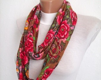 Circle cowl scarf, infinity Loop scarf, Flower Neckwarmer, tube spring fashion accessory, womens scarves, brown red pink