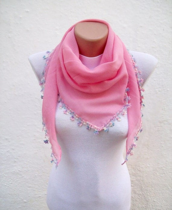 Handmade Traditional Turkish Fabric Scarf-Crochet Oya-pink-triangle
