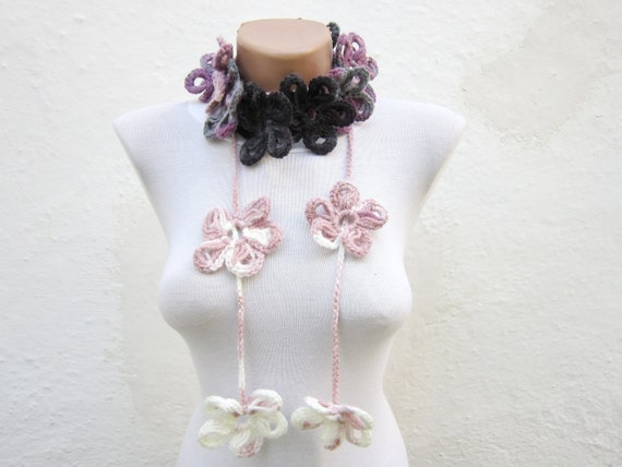 Crochet Scarf, Lariat Flower Scarf, Crocheted Flower jewelery, Neck Accessories, Variegated, Floral Necklace, Lilac, Purple, Grey, White