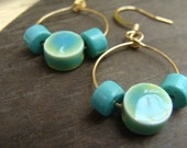 Porcelain and Howlite turquoise Earrings